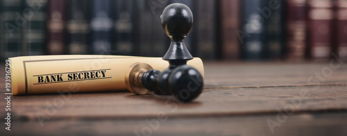 Bank secret document and notary seal on the wooden background. Wallpaper Mural