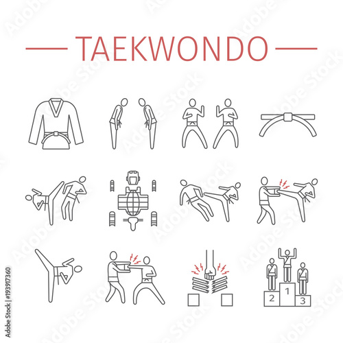 Obrazy Taekwondo   taekwondo-line-icons-set-vector-sports-signs