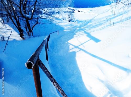 Zdjęcie XXL zejście do wody w zimie