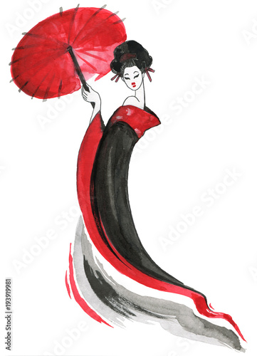 Geisha, women in traditional clothing. Japanese style, Watercolor hand painting illustration