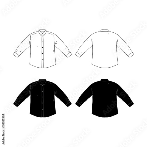 Set Of Blank Long Sleeve Shirt Design Template Hand Drawn Vector Illustration Front And Back