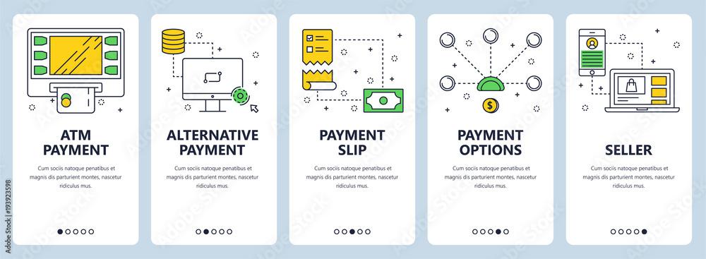 Fototapeta Vector modern thin line atm payment vertical web banner set