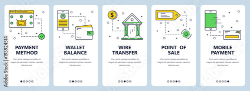 Fototapeta Vector modern thin line payment vertical web banner set obraz