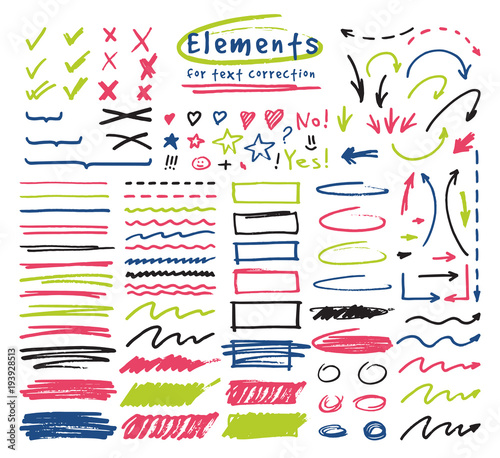 Cuadros en Lienzo Highlighter markers vector highlighting with hand drawing elements to select and
