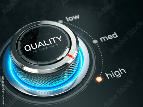 Obraz High quality level concept - quality level button on high position. 3d rendering - fototapety do salonu