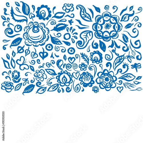 Fotografija  Beautiful card folk art floral ornament on white background Vintage elegant wedding invitation with summer flowers blue isolated on white background