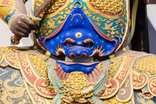 Close-up Of Buddhist God Statue In The Ancient Longhua Temple. China, Shanghai