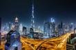 canvas print picture - Blick auf die Skyline von Dubai bei Nacht mit Sternenhimmel