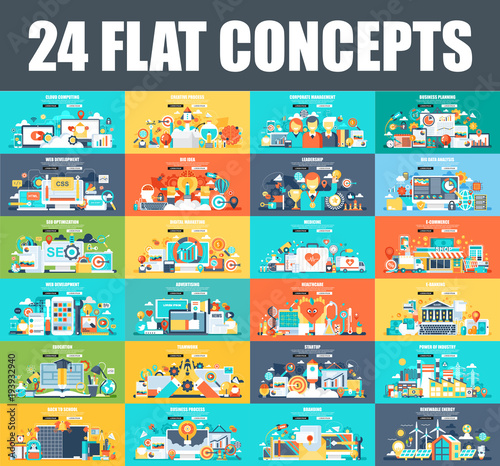 Modern set of flat concept web banner of Cloud Computing, E-Banking, E-Commerce, Marketing, Teamwork, Education, SEO, Development. Conceptual vector illustration for web and graphic design, website. Wall mural