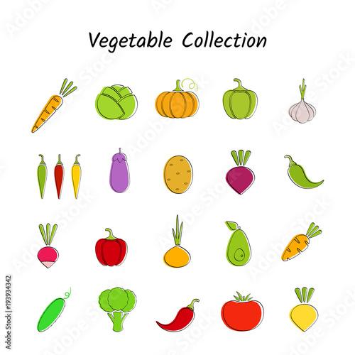 Stylish design vegetable icon set with black contour on