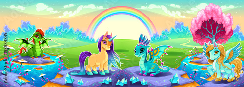 Poster Chambre d enfant Landscape of dreams with rainbow and fantasy animals