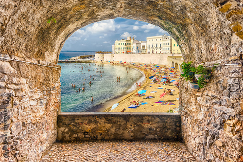 Rock balcony overlooking Gallipoli waterfront, Salento, Apulia, Italy Wallpaper Mural