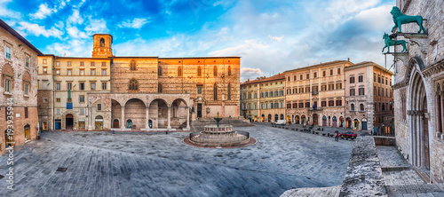 Garden Poster Old building Panoramic view of Piazza IV Novembre, Perugia, Italy