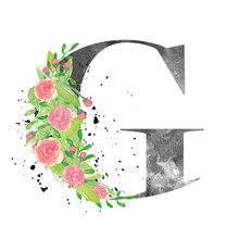 Watercolor Letter G With Flora...