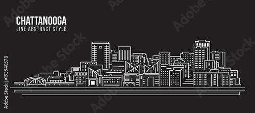 Foto  Cityscape Building Line art Vector Illustration design - Chattanooga city