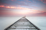 Minimalistic landscape with old jetty.Long exposure shot. - 193941114
