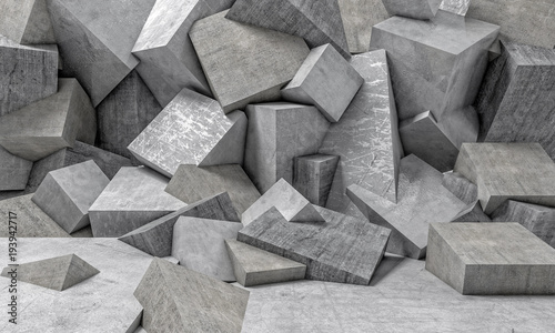 Fototapety, obrazy: abstract 3d background of a series of randomly placed concrete cubes. geometric and polygonal shapes. nobody around. horizontal format.