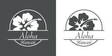 Icono Plano Aloha Hawaii Con Hibisco En Gris Y Blanco