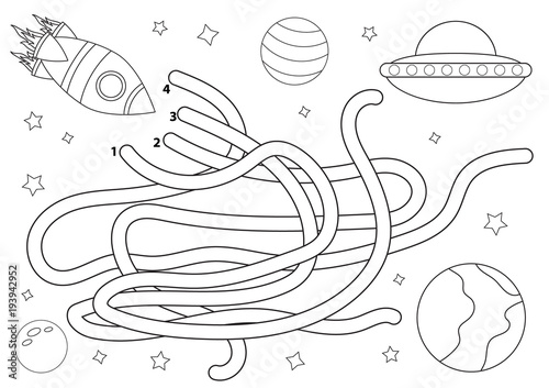 Fabulous Pac Man Maze Coloring Pages With Pac Man Coloring Pages: Space Maze For Children. Coloring Page. Help The Rocket