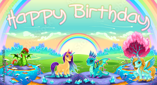 Staande foto Kinderkamer Happy Birthday card with fantasy animals