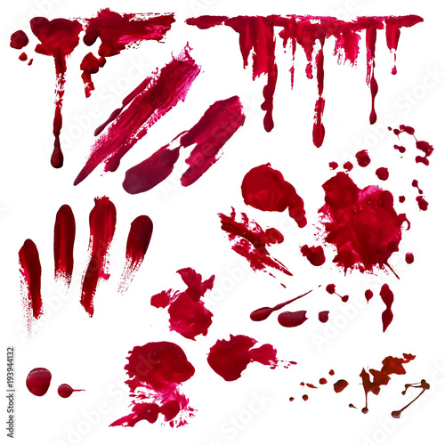 Fotomural  Blood splatter painted vector isolated on white for halloween design