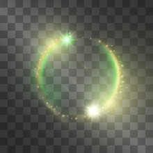 Golden And Green Light Effect With Circle Rotating Sheeny Frame Comet, Glowing Flamboyant Tail Of Shining Stardust Sparkles, Bright Illumination. Luxurious Neon Design Piece On Transparent Background.