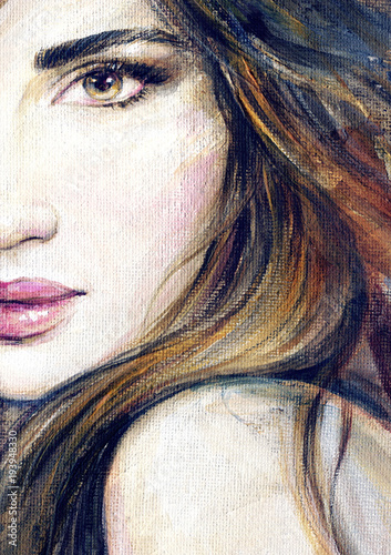 Canvas Prints Watercolor Face beautiful woman. fashion illustration. acrylic painting