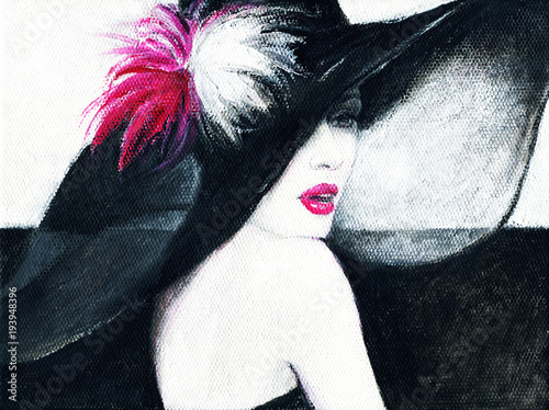 Deurstickers Aquarel Gezicht beautiful woman. fashion illustration. acrylic painting