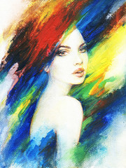 Plakat beautiful woman. fashion illustration. acrylic painting