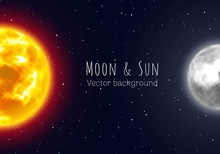 Half Moon And Sun, Night Sky Background, Cartoon Style. Star And Planet Of Solar System In Galaxy. Vector Illustration On Astronomical Theme