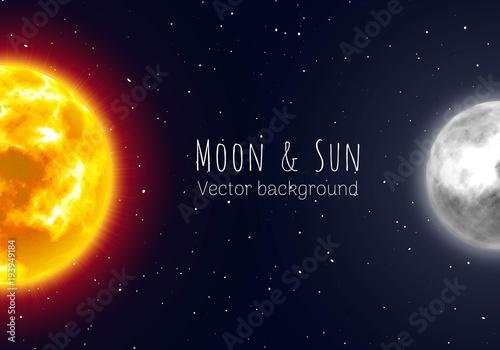 Fotografía  Half moon and sun, night sky background, cartoon style