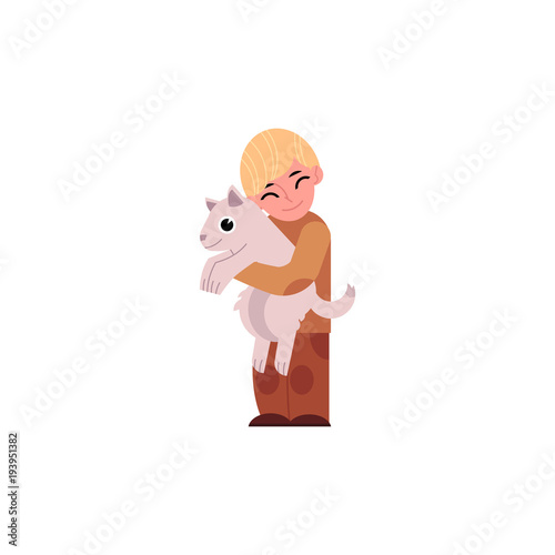 Vector cartoon happy teen boy kid hugging white dog pet holding on his arms. Male character standing smiling with eyes closed. Isolated illustration on a white background.