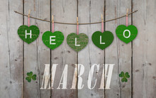 Hello March Written On Hanging...
