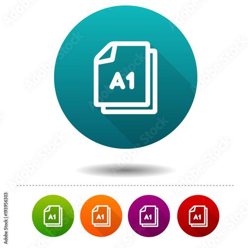 Paper size A1 icon. Document DIN symbol sign. Web Button. Canvas Print