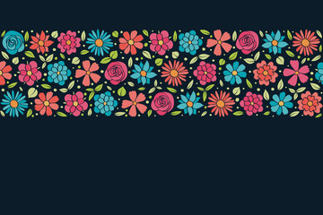 Layout of a floral poster in retro style. Background with copyspace. Vector.