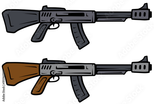 Cartoon automatic rifles vector weapon icons Canvas Print