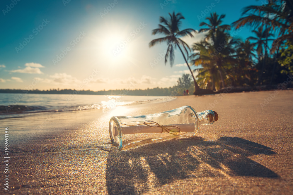 Fototapety, obrazy: Bottle with a message on a tropical island