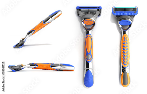 set of modern Mens razor 3d render on white background