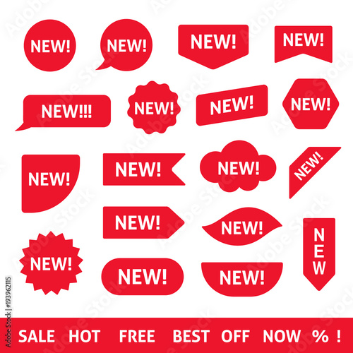 Red new stickers, labels and badges. Design element collection. Wall mural