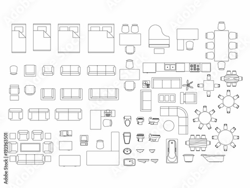 Fotografía  Top view of set furniture elements outline symbol for bedroom, kitchen, bathroom, dining room and living room