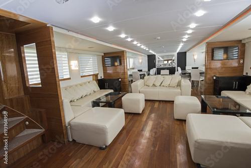 Fotografie, Obraz  Interior of large salon area of luxury motor yacht