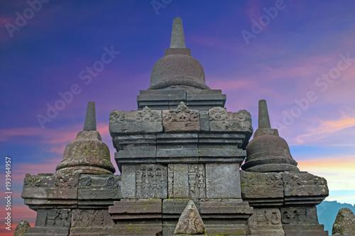 Foto op Plexiglas Bedehuis Buddist Temple Borobudur Taken at Sunrise. Yogyakarta, Indonesia