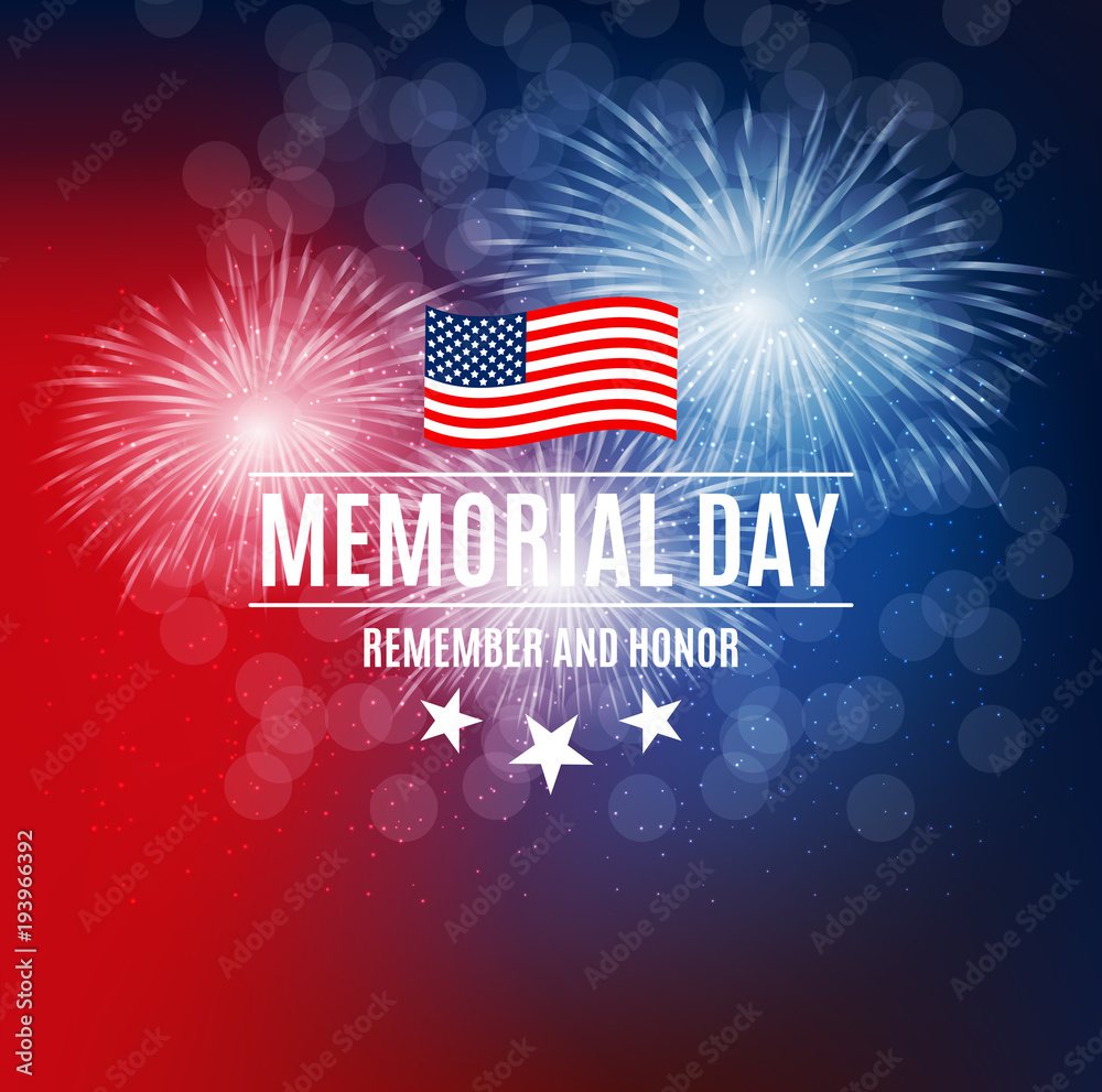 Fototapety, obrazy: Memorial Day Background Template Vector Illustration