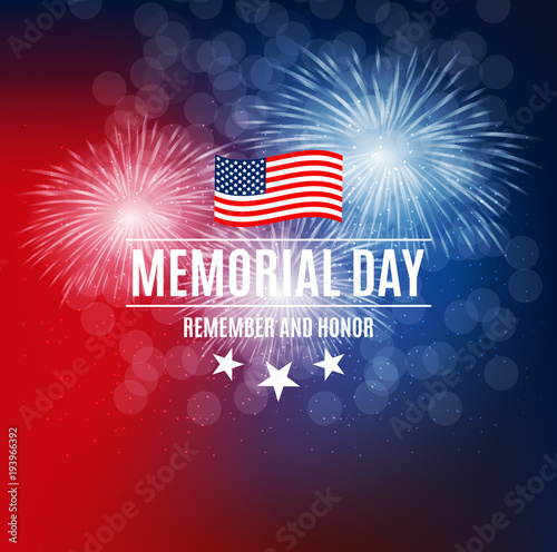 Láminas  Memorial Day Background Template Vector Illustration