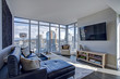 canvas print picture - Light filled family room with panoramic view of Seattle