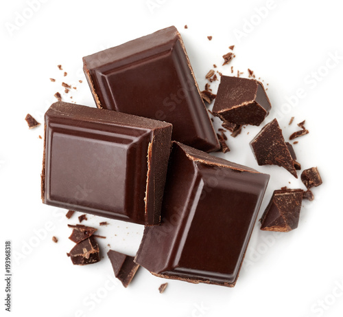 Three dark chocolate pieces