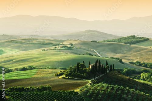 Tuscany landscape at sunrise. Tuscan farm house, vineyard, hills. Billede på lærred