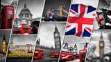 Fototapeta Londyn - Collage of the symbols of London, the UK