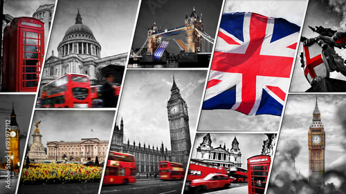 Fototapeta Collage of the symbols of London, the UK obraz