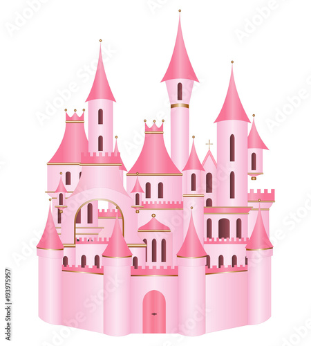 Fototapeta Pink princess castle vector